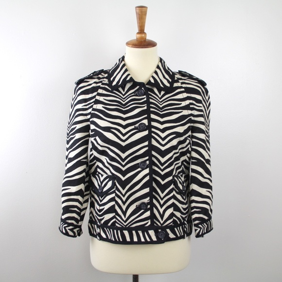 J Crew Collection Linen Zebra Print Jacket 4